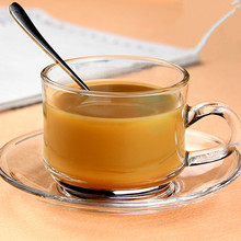 Прозрачный термостойкий Хрустальный комплект из чашки и блюдца с рукояткой Творческий послеобеденный чай кофе вкус чашки набор посуды