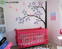 Baby Nursery Wall Stickers Tree White Tree Wall Decals Flying Birds Tree Branches Wall Art Home Decor Living Room Mural JW193A