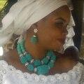Новый Бирюзовый Женщины Свадебная Бижутерия Набор 2017 Свадебные Заявление Колье Ручной Работы Бирюзовый Голубой Бесплатная доставка WD624