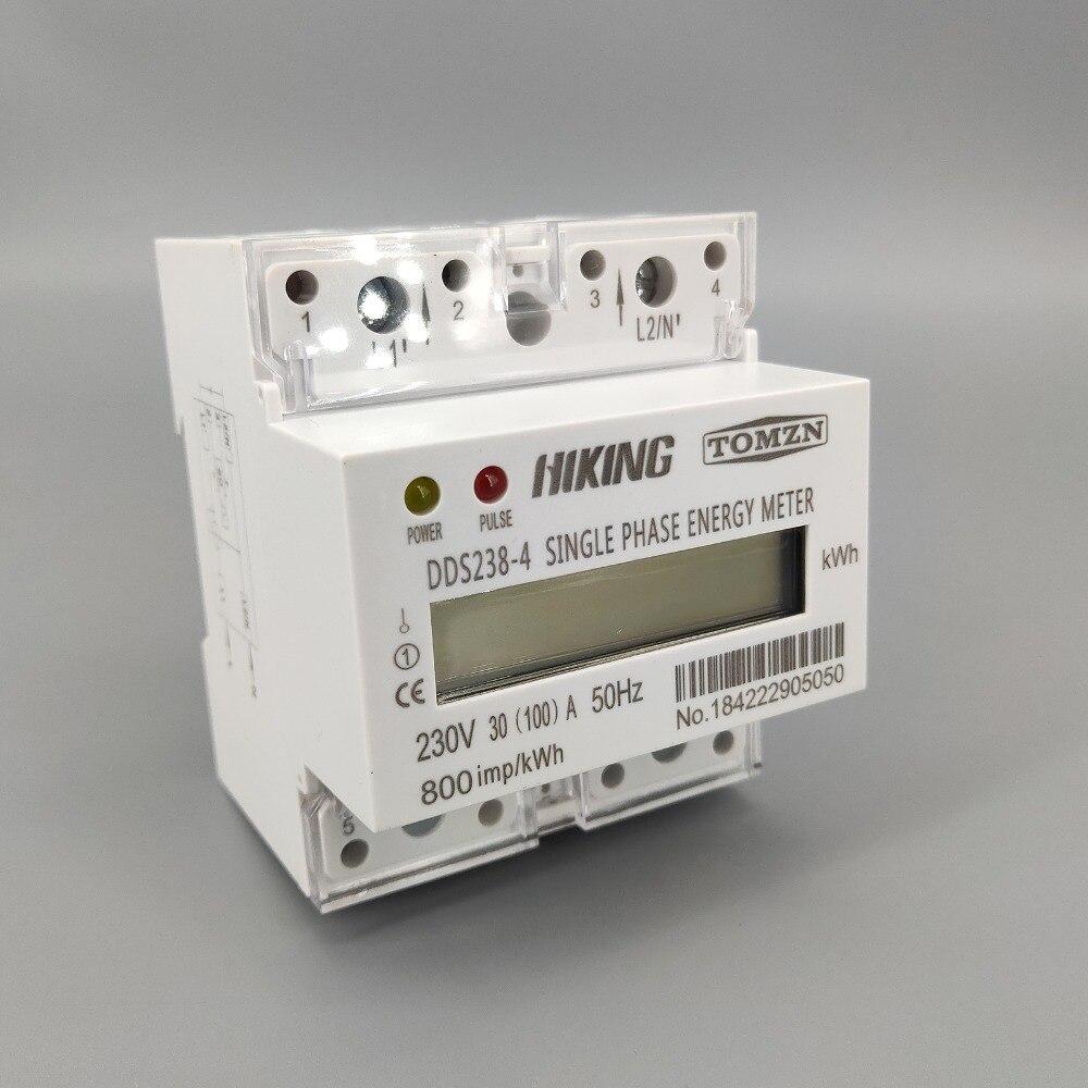 30(100)A 230V 50HZ Max 100A  Single Phase Din Rail KWH Watt Hour Din-rail Energy Meter LCD