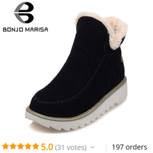 BONJOMARISA/зимние большие размеры 34–43 зимние сапоги, ботильоны Для женщин теплый плюш круглый носок женская обувь на платформе удобная обувь на танкетке