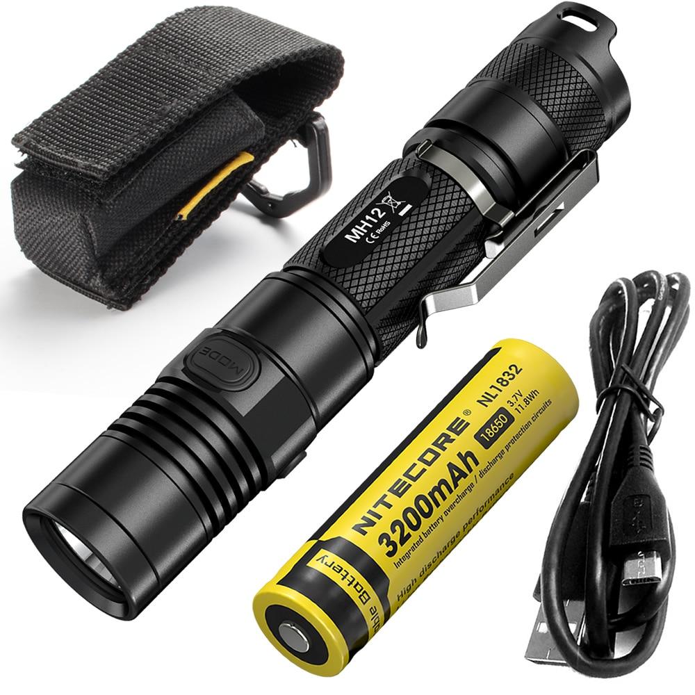 2018 NITECORE MH12 1000 lumen U2 LED USB Rechargeable Flashlight Search Rescue Portable Torch MH12W+ 18650 Battery Free Shipping fenix hp25r 1000 lumen headlamp rechargeable led flashlight