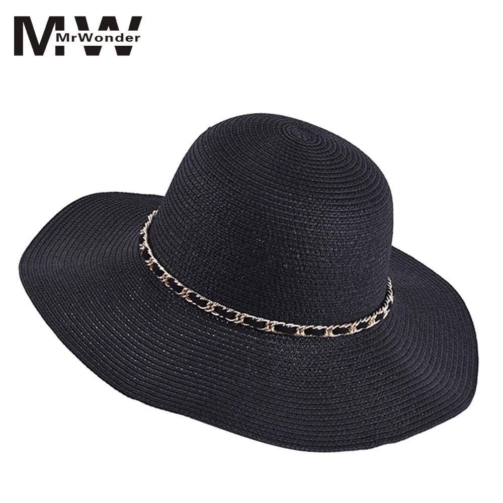 Summer Women's Sunhats Big Brims Beach Outdoor Travel Uv Protection Wide Brim Sun Straw Hat For Women Solid Black San0 New Varieties Are Introduced One After Another