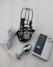 CB6000S electric shock leather chastity cage device electro shock  metal anal plug butt plug male sex toys CB6000 AC122
