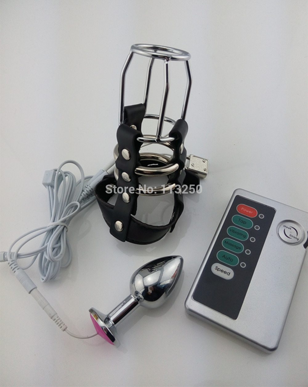 CB6000S electric shock leather chastity cage device electro shock  metal anal plug butt plug male sex toys CB6000 AC122 2 type metal anal plug for choose steel butt plug electric shock leather chastity cage device electro shock sex toys