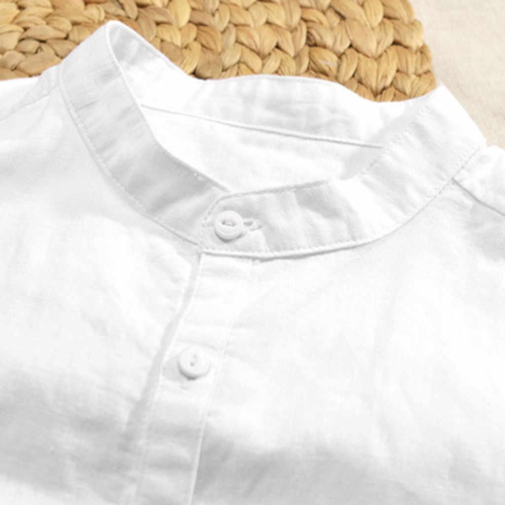 寝台 #401 2019 ファッション夏メンズ通気性のソリッドカラーのボタンコットンシャツ 5 点袖シンプルな送料無料