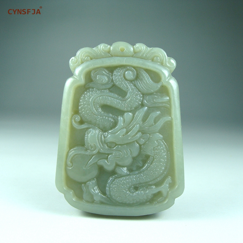 Natural Hetian Nephrite Jade Chinese Ancient Style Dragon Pendant Talisman