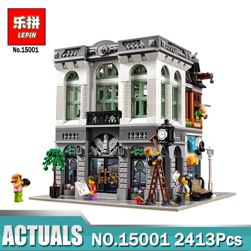 IN STOCK New LEPIN 15001 2413Pcs Brick Bank Model Building Kits Blocks Bricks Toy Compatible legoing 10251 Brick Toys lepin 21004 ferrarie f40 sports car model legoing building blocks kits bricks toys compatible with 10248