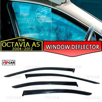 Deflector de ventana para Skoda Octavia A5 2004-2012 Liftback deflector de ventana de coche protector de viento ventilación parasol de lluvia y sol cubierta decoración de estilo