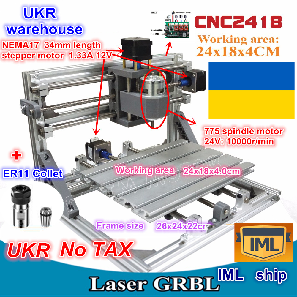 UKR 2418 GRBL control Diy CNC machine working area 24x18x4.0cm,3 Axis Pcb Milling machine Wood Router,Carving Engraver,v2.5