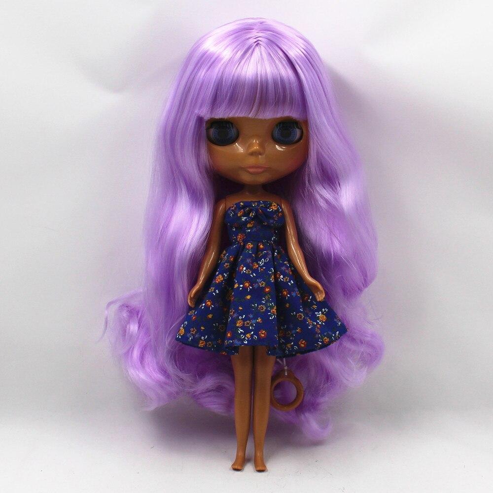 260BL7008 purple curly long hair with bangs dark Skin tan skin Nude Doll suitable for change DIY purple curly long hair with bangs normal body nude doll suitable for change diy 280bl732 117