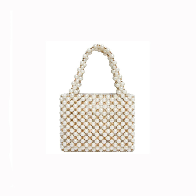 29d301a44c Hand-knitted pearls women handbag luxury Evening Bags Imitation Pearl Women Bag  Shoulder Bags Clutch
