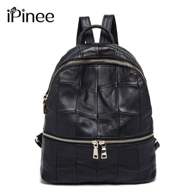 iPinee Large Capacity Women s Genuine Leather Backpacks Female School Bag Laptop Backpack Wholesale