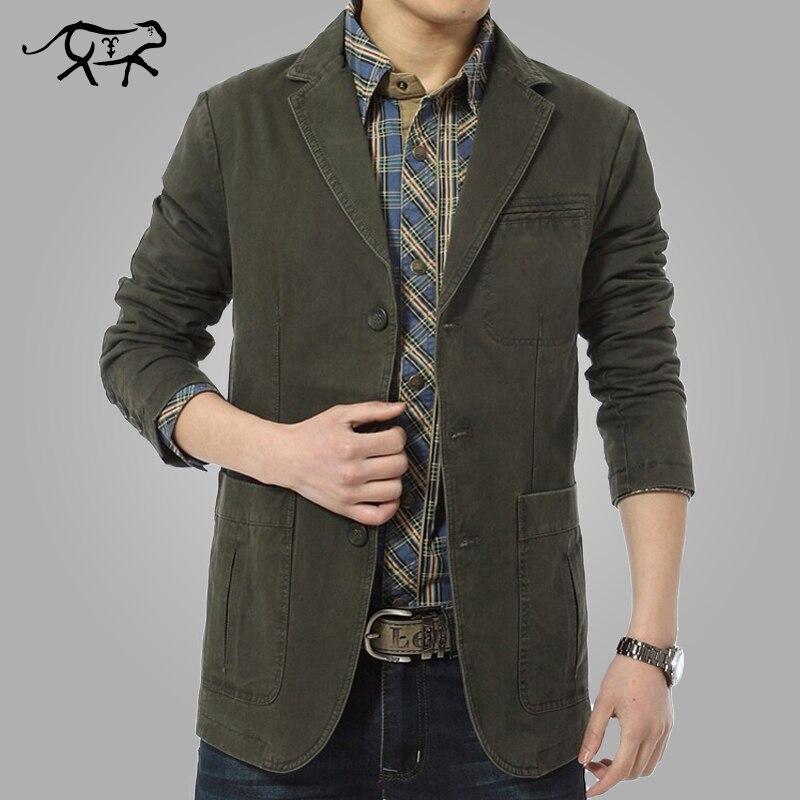 741b8e58 2017 New Autumn Spring Men Casual Blazers Cotton Denim Parka Men's slim fit Jackets  Male Suite Army Green Khaki Big Size M-XXXXL