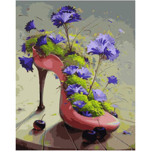 WEEN Purple flowers and High heels-DIY Oil Painting Drawing with Brushes Paint, Paint by Number Kit for Adults,
