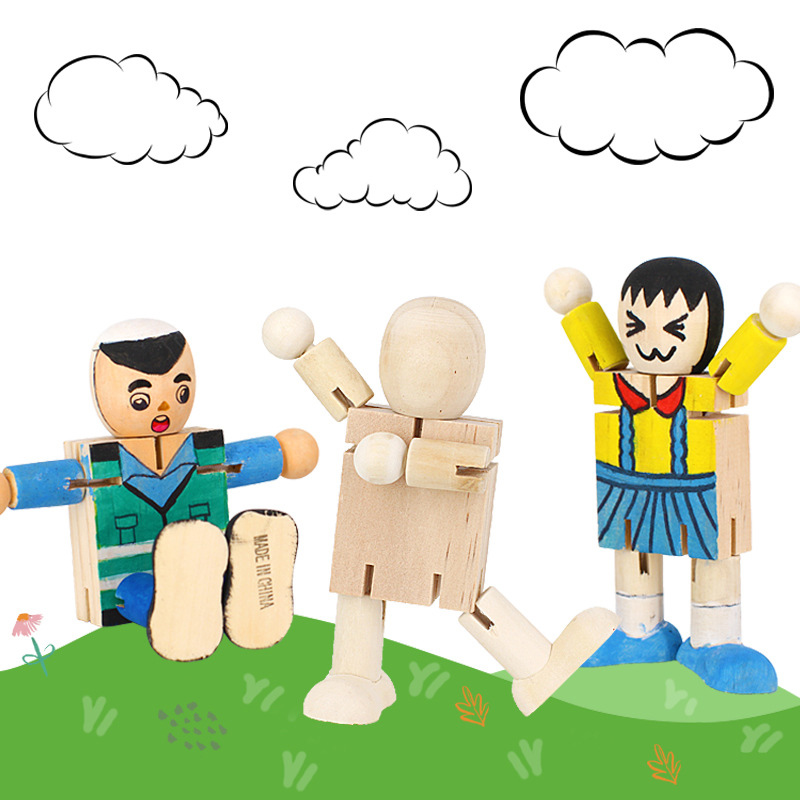DIY White Blank Wooden Robot Doll Handicraft Toy Cartoon Drawing Graffiti Joint Puppet Craft Toy Children's Educational Toys