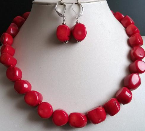 Charming Coral Jewelry Set Red Coral Necklace Earrings 7 пряди red coral