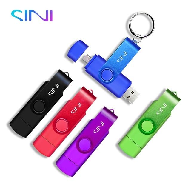 SINI OTG USB flash 8 gam 16 gam 32 gam 128 gam usb 2.0 memory stick 64 gb pendrive kim loại cle usb ổ đĩa flash lưu trữ bên ngoài cho điện thoại thông minh