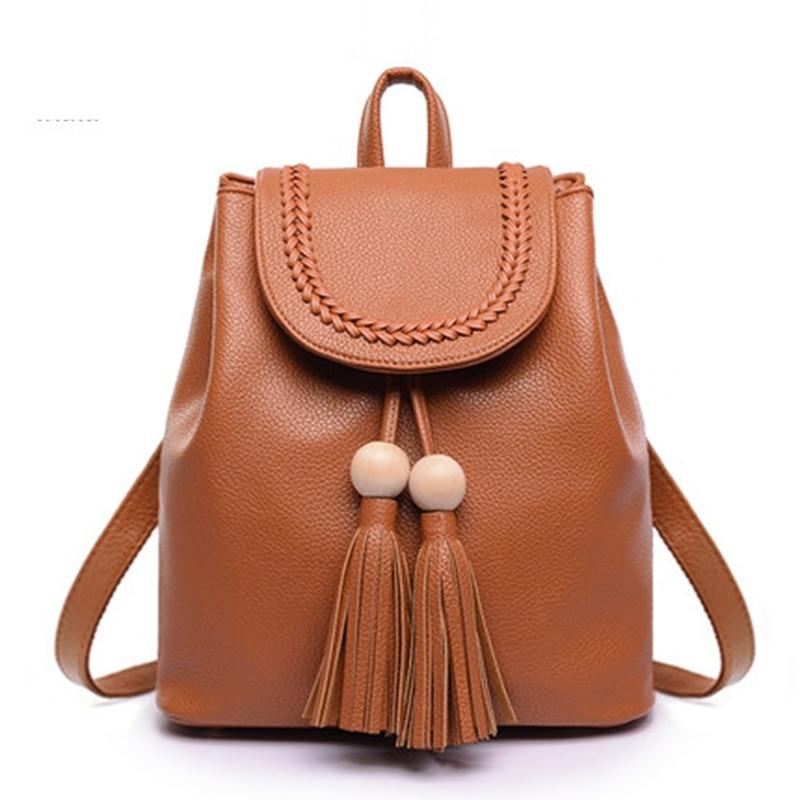 Korean Backpack Leather Shoulder Bag Small Tassel Bag Backpack School Bag for Teenagers Girls Travel Top