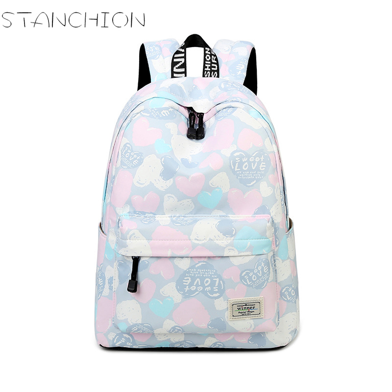 STANCHION Polyester Backpack for Women Waterproof Sweet Heart Fresh Large Capacity Teenager Travel School Backpack
