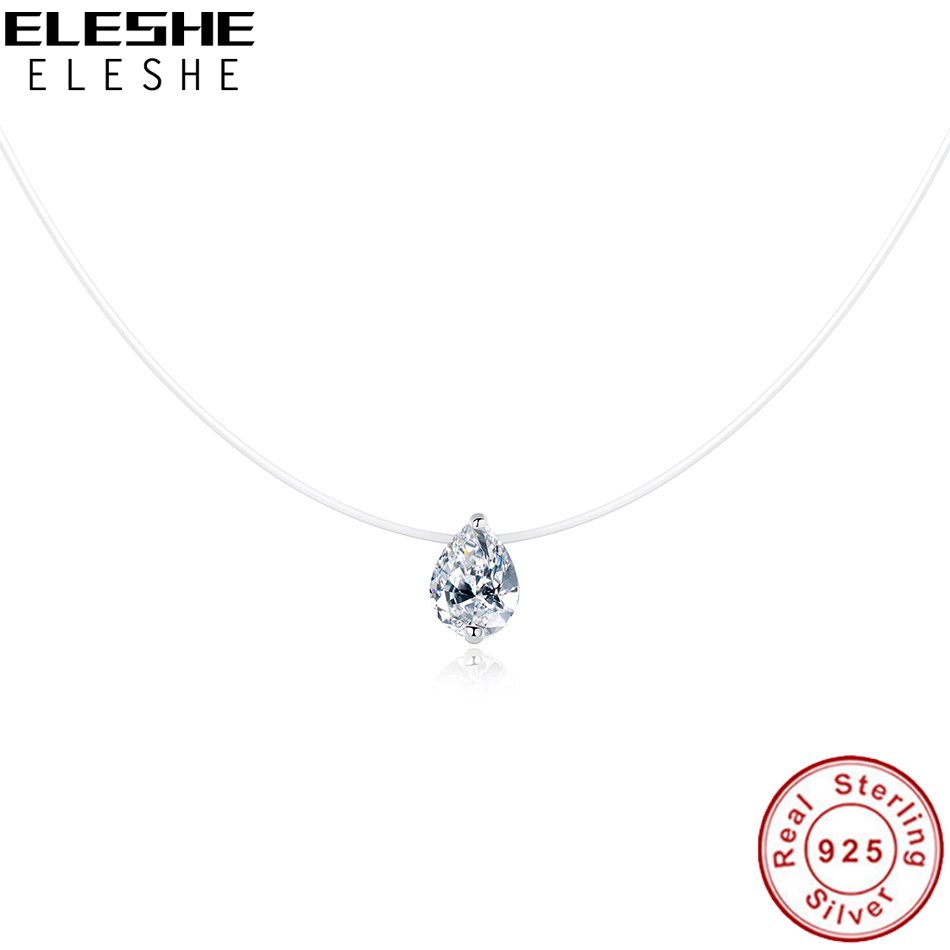 ELESHE 925 Sterling Silver Necklace & Pendant Transparent Water Drop Crystal Raindrop Choker Necklaces for Women Wedding JewelryELESHE 925 Sterling Silver Necklace & Pendant Transparent Water Drop Crystal Raindrop Choker Necklaces for Women Wedding Jewelry