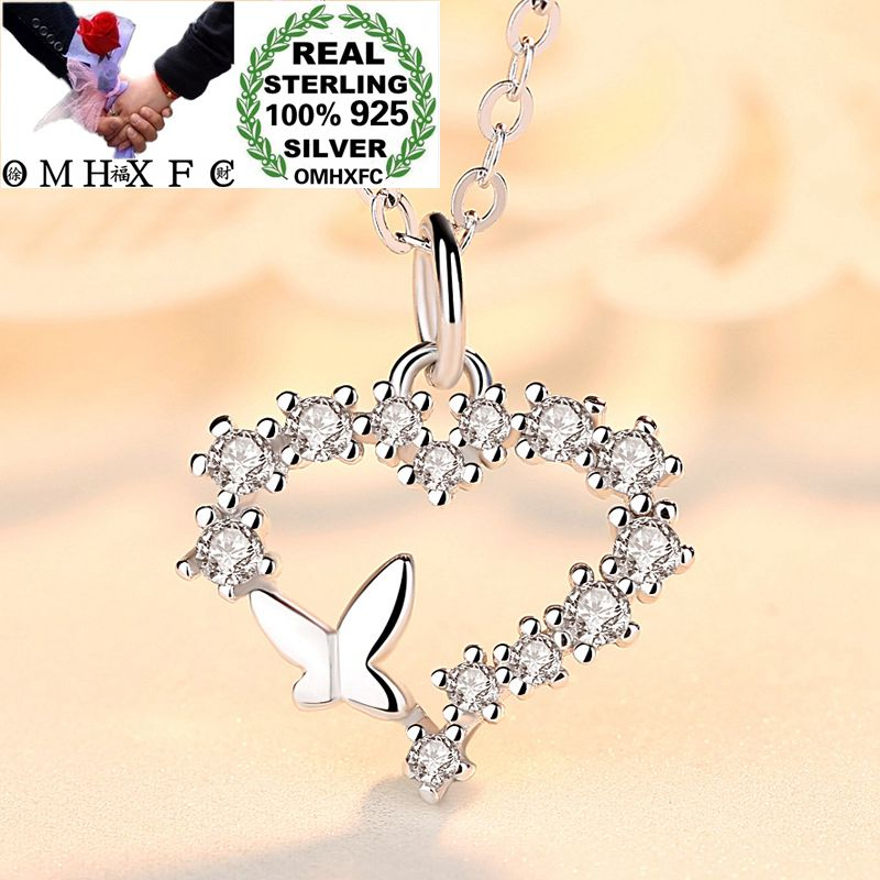 OMHXFC Wholesale European Fashion Woman Girl Birthday Gift Heart Butterfly Zircon 100% 925 Sterling Silver Pendant Necklace CH05OMHXFC Wholesale European Fashion Woman Girl Birthday Gift Heart Butterfly Zircon 100% 925 Sterling Silver Pendant Necklace CH05