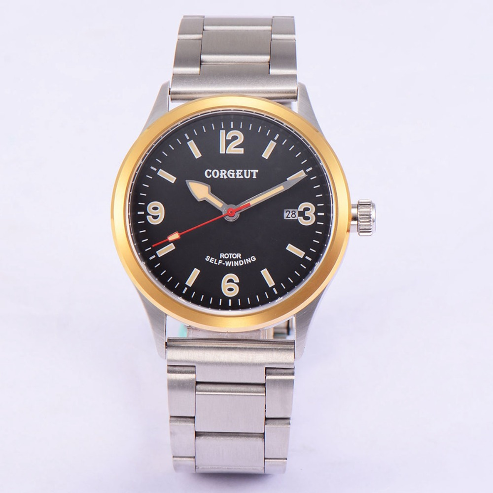 41mm Corgeut stainless steel Case Black Dial Date 20ATM Japan Miyota 2815 Automatic Mens water resistant and diver wristatches 41mm corgeut wristwatches stainless steel case black dial date 20atm miyota 2815 automatic movement mens water resistant watches