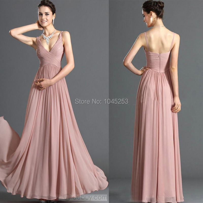Brilliant a-line sexy chiffon floor length v-neck ...