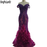 Robe De Soiree Mermaid Off The Shoulder Sweetheart Purple Lace Appliqued Hot Pink Feathers Bottom Contrast