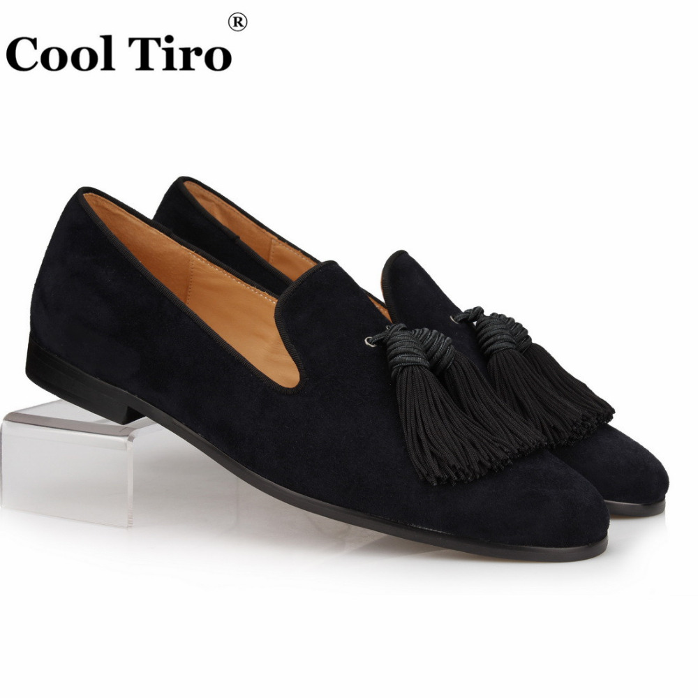 8ab043ac440 COOL TIRO Black Suede Loafers Men Handmade Tassels Slippers Wedding Dress  Shoes Slip on Gentlemen Male s flat Casual Plus size