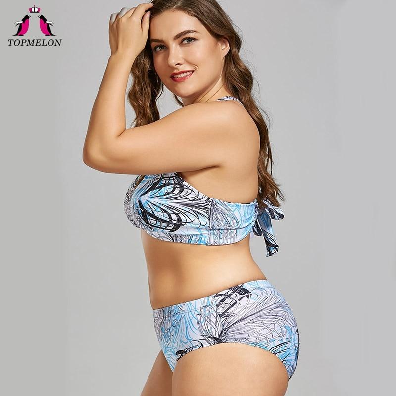 TOPMELON Bikini Set 2018 New women Plus size Swimwear Plant print Swimsuits for women female Swimming Set Blue Beachwear 4XL