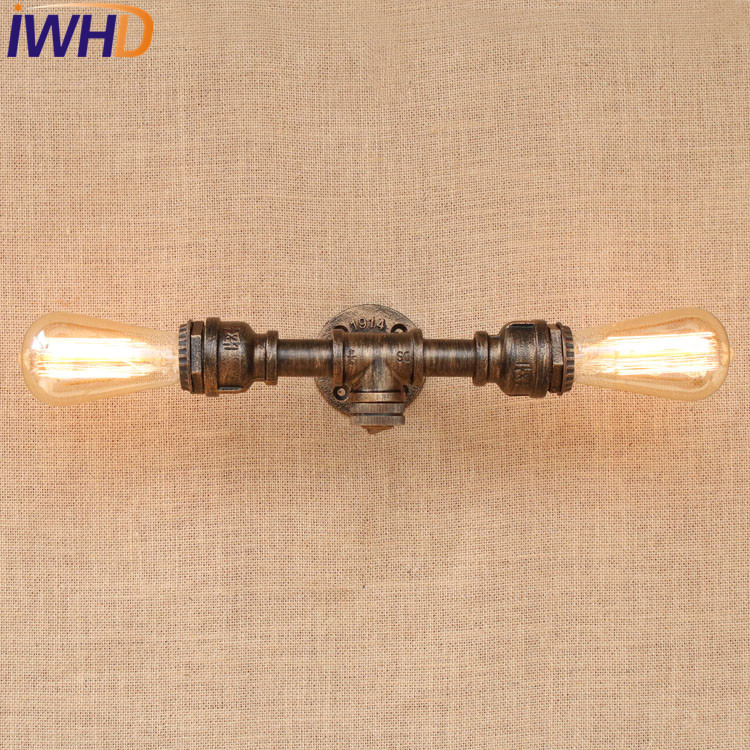 IWHD Loft Style Retro Water Pipe Lamp Industrial Edison Wall Sconce Switch Vintage Wall Light Fixtures Indoor Lighting Lamparas retro loft style industrial vintage wall lamp edison wall sconce 2 lights water pipe wall light fixtures home lighting e27 bulb