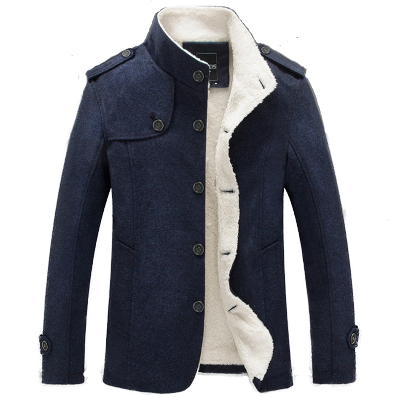 Hot Winter Men Coat Fleece Lined Thick Warm Woolen Fashion Slim Fit Autumn Overcoat Male Wool Blend Jackets Men's Brand Clothing(China)