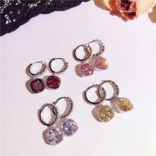 Women Drop Earring Pink Red Yellow White Earrings Fashion Jewelry Accessories Fine Crystal Zircon Jewellery