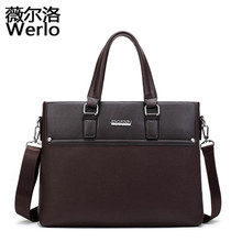 WERLO New Leather Man Fashion Briefcase High Quality Business Shoulder Bags Casual Travel Handbag Luxury Brand Laptop Bags SJ115