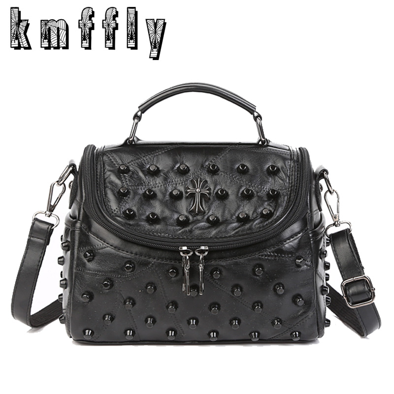 KMFFLY Black Rivet Sheepskip Handbag Genuine Leather Bag Woman Luxury Handbags Women Bags Designer Brand Famous Shoulder Bag luxury genuine leather bag fashion brand designer women handbag cowhide leather shoulder composite bag casual totes