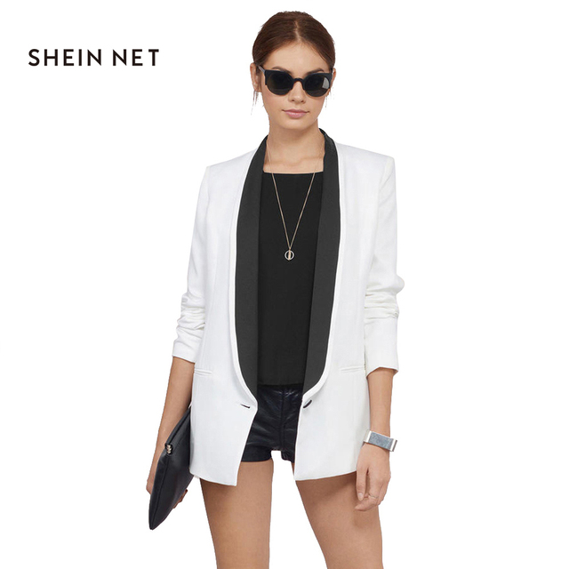 Sheinnet 2017 White Women Blazer Coats Long Sleeve Contrast Spring Jacket  Female Office Elegant Slim Casual 657be27f7