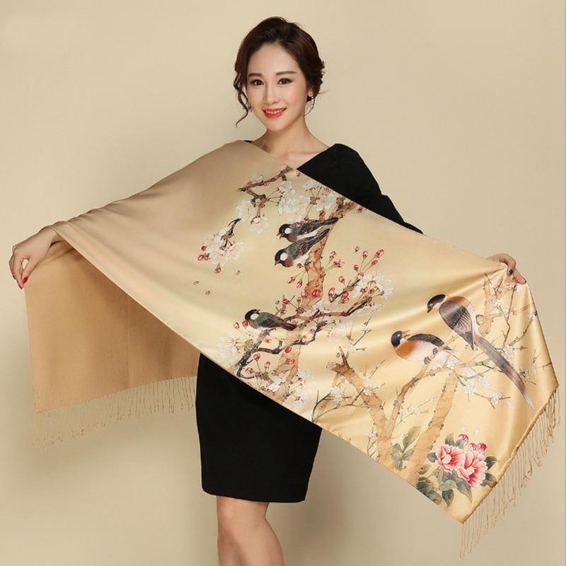 Luxury Brand Silk Scarf Long Soft Scarf Women Winter Brushed Shawls BandanaFemale Silk Scarf Quality Print Hijab Wrap