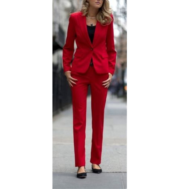 874dce6f324 Red Suits Women's Business Office Tuxedo Custom Made Formal Work Wear New  Suits office uniform designs women