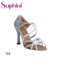 Suphini 713 Hot Sale Women Latin Dance Shoes Gold Glitter Dance Shoes Soft Leather Sole Ladies
