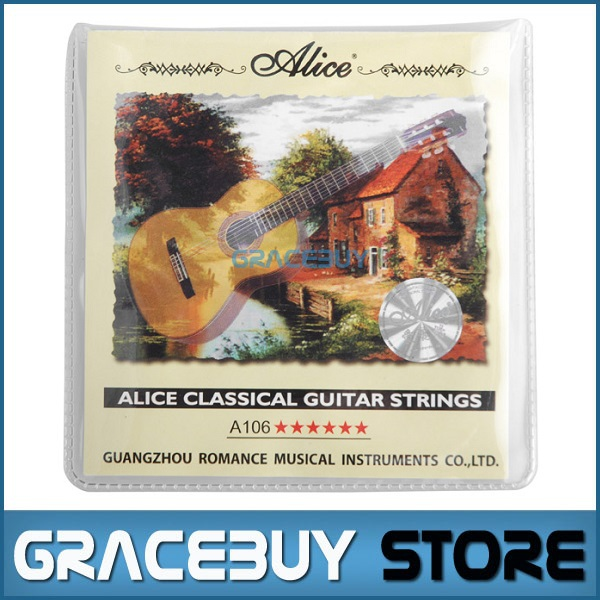Classical Guitar String Clear Nylon String Hard Tension - Alice A106-H cordas da guitarra 1 set encordoamento Sring classical guitar strings set cgn10 classic nylon silver plated normal tension 028 045 classical guitar strings 6strings set