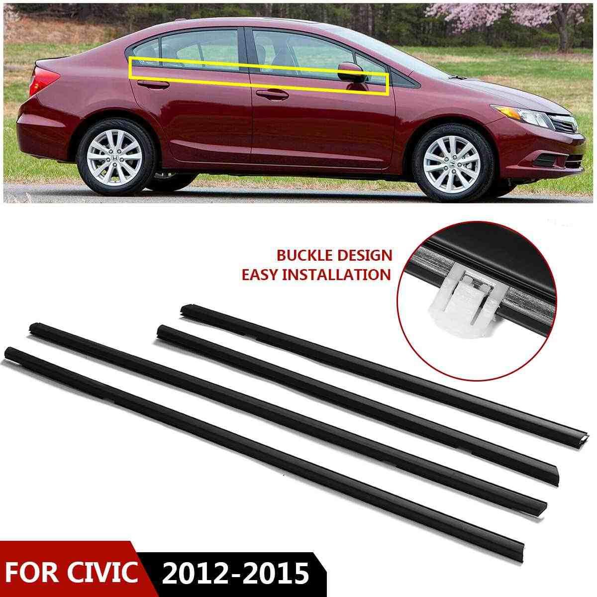 4pcs Car Weatherstrip Window Moulding Trim Seal Belt fit for Honda Civic 2012-2015#72410TR0A01