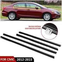 NEW 4PCS/SET Car Weatherstrip Seal Belt Outside Window Moulding Weather Strip For Honda for Civic 2012 2015