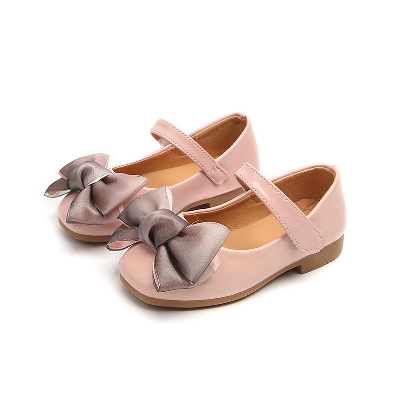 Kids Girls Leather Shoes Children Single Shoes With Bow Spring/Autumn Girls Anti-Slip Princess Shoes Fashion Soft Bottom Sneaker