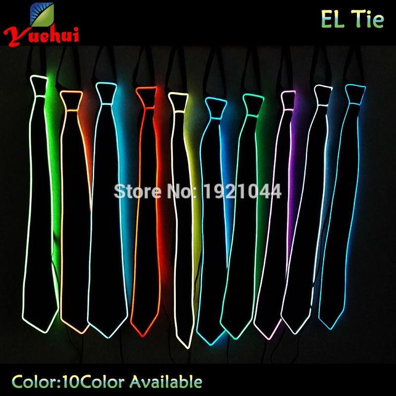10 farben Wählen Mode GLowing hochzeit EL draht krawatte streifen LED Neon, Der Mode Zubehör männer krawatte Party Dekoration
