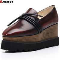 Asumer Black Fashion Spring Autumn New Pump Shoes Woman Square Toe Platform Wedges Shoes Women Genuine