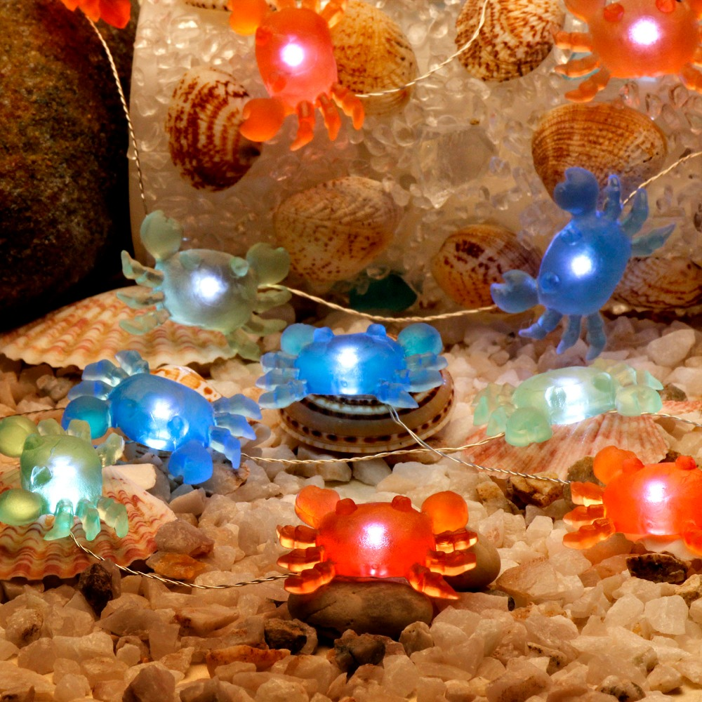 Crab Led String Lights 10ft Copper Wire Dimmer Remote Control For Ocean Themed Indoor Aquarium Decorations Night Lighting In Strings From