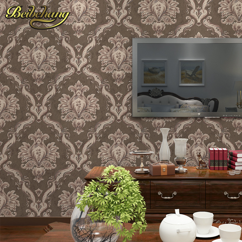 beibehang European Luxury Textured papel de parede 3d Damask wallpaper for walls 3 d Embossed Wall Paper For Bedroom Living Room beibehang european luxury papel de parede 3d wall paper roll embossed flocking living room tv background wallpaper for walls 3 d