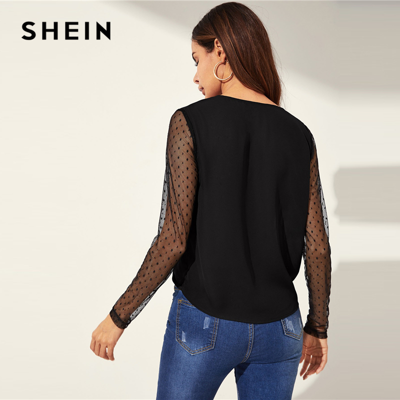 SHEIN Sexy Black Deep V Neck Dot Contrast Mesh Sleeve Wrap Sheer Shirt Long Sleeve Blouse Women Night Out Spring Top Blouses 2