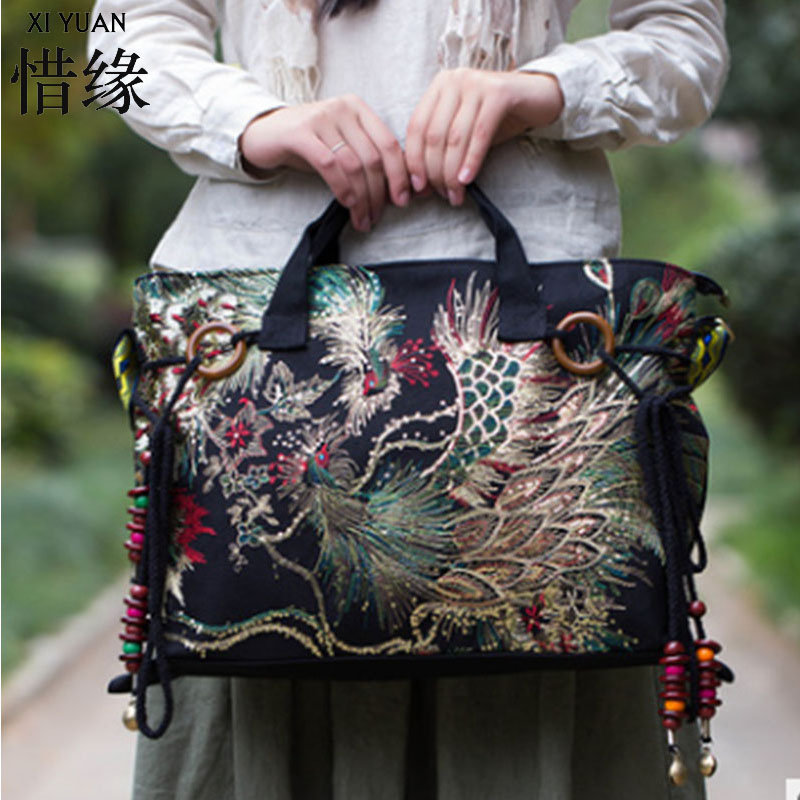 XIYUAN BRAND Casual and luxury new national ethnic flowers embroidery embroidered big Canvas shoulder Messenger bag hand bags big конструктор ж д станция peppa pig 57079